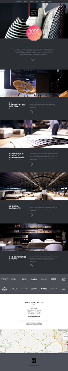 Quality imagery against a lovely dark color scheme in this one pager for the Belgian bedding specialist, Père Dodo.