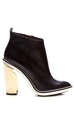 Metallic-Heel Leather Ankle Boots by Nicholas Kirkwood Now Available on Moda Operandi