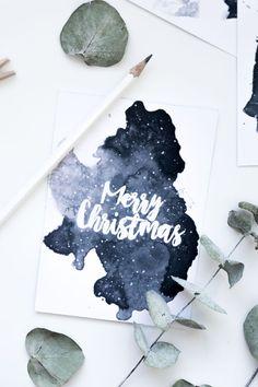 Christmas Crafts for outside Freebie zum Ausdrucke - christmascrafts Watercolor Christmas Cards, Diy Christmas Cards, Simple Christmas, Christmas Crafts, Marry Christmas Card, Christmas Printables, Diy Postcard, Gratis Download, Diy Cadeau