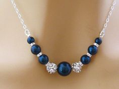 Blue Pearl Necklace Pearl Rhinestone Bridal by martywhitedesigns, $53.00