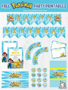 Are you planning a Pokemon party? Download this free set of party printables to use at your event. The set includes free Pokemon Invitations, Pokemon Cupcake toppers and wrappers, Pokemon Chocolate Bar Wrappers, Pokemon Waterbottle Wrappers and a Pokemon birthday banner. #pokemon #Pokemonparty #pokemonprintables #pokemonpartyprintables #pokemoninvitations
