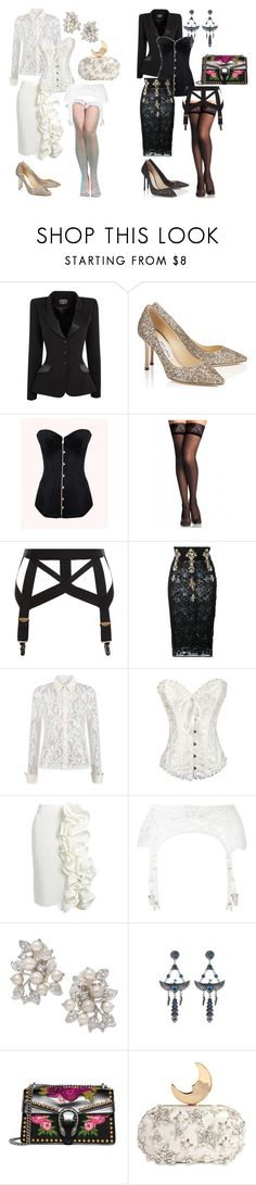 """Secretaries Black & White"" by half-life on Polyvore featuring Agent Provocateur, Jimmy Choo, Stefano de Lellis, Brock Collection, Nina, Gucci and Benedetta Bruzziches"