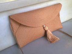 bolso-cartera de rafia con borla  rafia  cinta  hilo,broche magnético cosido a mano,borla hecha a mano