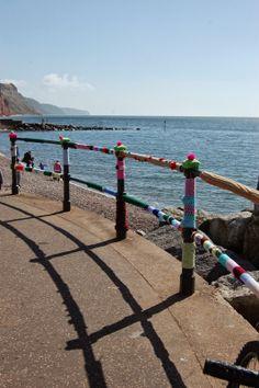 Sidmouth Knit Cafe.: ssssssssssshhhhhhhhhhh! . yarn bombing the prom at sidmouth devon