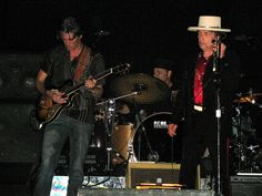 Musicians Charlie Sexton and Bob Dylan perform at The Dell Diamond on August 4 2009 in Round Rock Texas