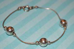 "Vintage Sterling Silver Liquid Silver Ball Bracelet 7.25"" Long  #Chain"