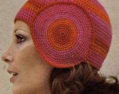 VINTAGE 1970s CROCHET PATTERN- Hats & Scarf Set - Cloche, Beanies, Brimmed Hat, Woven Scarf Instant Download Pdf from GrannyTakesATrip 0089