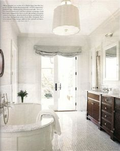 Image of: traditional bathroom design walls traditional bathroom design ideas traditional master bathroom design inside Classic White Bathrooms, White Master Bathroom, Master Bathrooms, Serene Bathroom, Timeless Bathroom, Boho Bathroom, Simple Bathroom, Bathroom Lighting, Dream Bathrooms