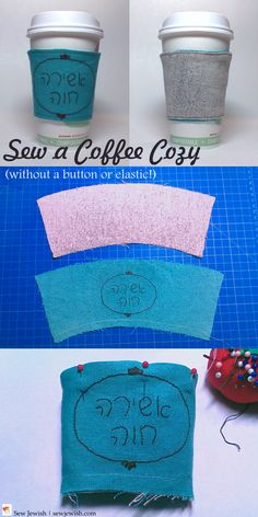 It's not only cozy, it's an environmentally friendly project you can probably do with fabric from your stash! Fabric Pen, Fabric Markers, Coffee Cozy Pattern, Coffee Cup Sleeves, Embroidery Needles, Make A Gift, Project Yourself, Print And Cut, Crochet Hats