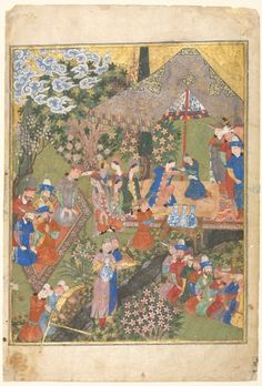 Persian:  Courtly Scene in a Garden, Right folio of Double Page Frontispiece (verso) from a Manuscript of the Shahnama of Firdawsi  from 1444. (Cleveland Museum of Art)