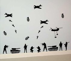 Army War Package Decal Sticker Wall soldier tank planes bombs artille | dabbledown - Housewares on ArtFire