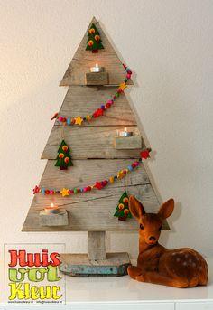 Huisvolkleur: Houten Kerstboom Wooden Christmas Tree