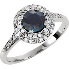 14k white gold sculptural-inspired diamond engagement ring, 1/5cttw, shown set with 5.00MM blue sapphire. Find it at a jeweler near you: www.stuller.com/locateajeweler #engagementring
