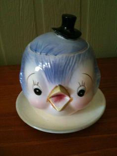Japanese bluebird sugar bowl Hd Vintage, Vintage Birds, Vintage Tea, Vintage Ceramic, Vintage Dishes, Vintage Glassware, Woodland Critters, Vintage Home Decor, Blue Bird
