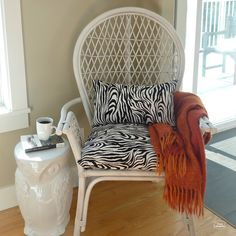Thrifted Rattan Chair makeover thumbnail at thehappyhousie