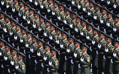 Soldiers marching through Tiananmen Square during the military parade marking the 70th Anniversary of the Victory of Chinese People's Resistance against Japanese Aggression