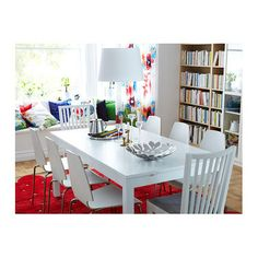 - Furniture and Home Furnishings VILMAR Chair IKEA The chair's melamine surface makes it durable and easy to keep clean.VILMAR Chair IKEA The chair's melamine surface makes it durable and easy to keep clean. Bjursta Table, Dream Home Design, House Design, Table And Chairs, Dining Chairs, Ikea Us, Table Extensible, Dining Table In Kitchen, Dining Set