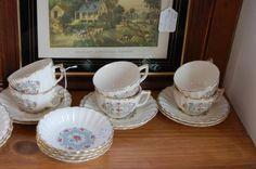 Limoges Lyric Pattern Six Cups & Saucers - ca