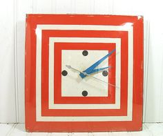 Retro Groovy Mid Century Geometric Square Pam Wall Clock - Vintage Orange & Turquoise Graphic Display - Working Condition Glass Bubble Lens $64.00