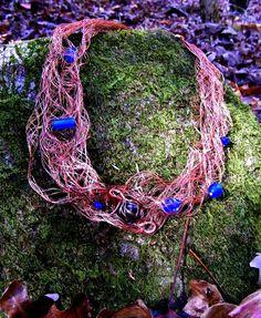 Copper Mesh Necklace with Cobalt Glass Beads. $30.00, via Etsy.