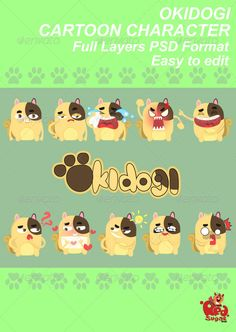 Buy Cartoon Character - Okidogi by redsugarstudio on GraphicRiver. Okidogi Cartoon Character with 10 various combinations of position. ZIP contains PSD high resolution files. Character Illustration, Digital Illustration, Graphic Illustration, Illustrations, Cartoon Characters, Fictional Characters, Cartoon Cartoon, Diy Funny, Cute Diys
