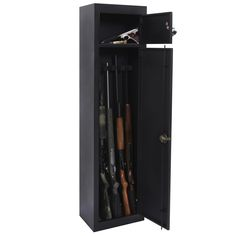 Gun Metal Security Cabinet by American Furniture Classics 906 Protect your valuable collection of weaponry from a variety of elements including moisture and dust with this American Furniture Classics Gun cabinet. It comes equipped with two separate storage areas that are suitable for storing rifles and pistols in their own compartments. The unit is made with a three-point locking system for safety, and perfectly suitable for avid collectors of firearms who need security. This metal gun… Ammo Storage, Locker Storage, Storage Area, Hunting Stores, Metal Lockers, Home Safes, Key Lock, Adjustable Shelving, Guns