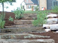 Natural steps using Flat Moss Rock