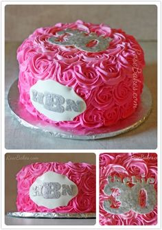 Hot Pink Buttercream Roses Cake with Monogram - Rose Bakes Hot Pink Cakes, Camo Cakes, Buttercream Roses, Monogram Cake, Cake Decorating Tutorials, Cake Tutorial, Cupcake Cakes, Cupcakes, Cake Designs