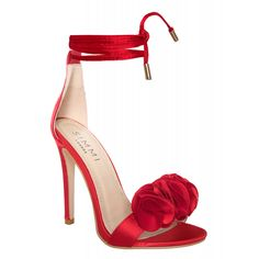 Nia Red Satin Lace Up Ruffle Heels : Simmi Shoes