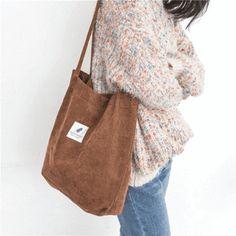 Buy 2018 New Shoulder Bag Female High Capacity Women Corduroy Tote Ladies Casual Lady's Bag Foldable Reusable Shopping Beach Bag Women's Bags, Purses And Bags, Totes And Bags, Diy Mode, Reusable Shopping Bags, Korean Fashion Trends, Fashion Ideas, Shopper Bag, Casual Bags