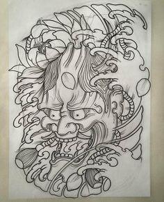 Hanya Mask Tattoo, Oni Tattoo, Irezumi Tattoos, Samurai Tattoo, Japanese Mask Tattoo, Japanese Dragon Tattoos, Biblical Tattoos, Daffodil Tattoo, Glyph Tattoo