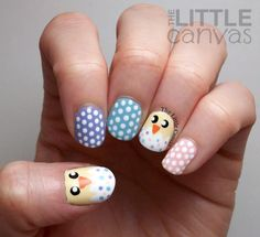 The Little Canvas: Hatched Easter Chick Nail Art + Tutorial American Nails, Easter Nail Art, Nail Art Videos, Funky Nails, Manicure Set, Halloween Nail Art, Glitter Nail Art, Perfect Nails, Holiday Nails