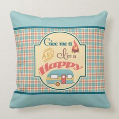Happy Camper Personalized Pillow (Aqua & Coral) camping rpod, camping gifts for dad, camping diy ideas Camping Coffee, Diy Camping, Camping Gifts, Personalized Pillows, Custom Pillows, What To Take Camping, Coral Aqua, Camping Pillows, Camping Outfits