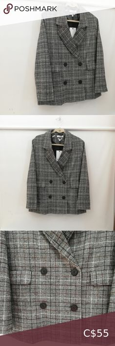 """Native Youth checked plaid Blazer Suit New. With two front pockets.  Double breasted. Measurements laid flat Armpit-to-armpit 21"""" Length 28"""" NATIVE YOUTH Jackets & Coats Blazers & Suit Jackets Plaid Blazer, Blazer Suit, Plus Fashion, Fashion Tips, Fashion Trends, Suit Jackets, Double Breasted, Black And Brown, Blazers"""