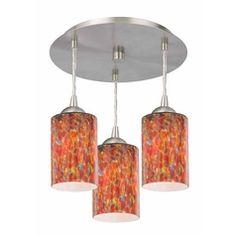 Contemporary Semi-Flushmount Ceiling Light with Art Glass | 579-09 GL1012MB | Destination Lighting