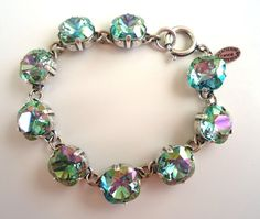 CATHERINE POPESCO STUNNING 2013 Ocean Green Swarovski Silvertone Bracelet NWT
