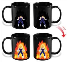 Dragon Ball Z Heat Reactive Mug featuring Vegeta new in box. Pour hot liquid into this mug and watch Vegeta power level rise to over Dragon Ball Z c Ceramic Coffee Cups, Coffee Mugs, Coffee Life, Drinking Coffee, Design Dragon, Anime Coffee, Dragon Ball Z Shirt, New Dragon, Porcelain Mugs