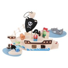 """""""Ahoy Captain!"""" Jolly sailors will adore this wonderfully crafted wooden Pirate Ship Playset, complete with a captain, pirates, treasure chest and even a shark! All the pieces fit within the ship to ensure that little sailors can take it with them everywhere. Suitable for children aged 3 years+. Available MAY: http://shop.bigjigstoys.co.uk/products/productdetail/Mini+Pirate+Ship+Playset/part_number=BJ685/12465.0.4.3.1079580.0.0.0.0?pp=20&"""