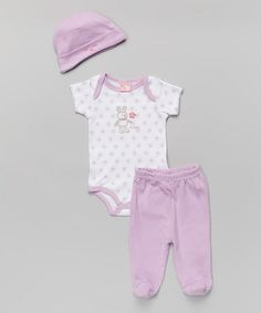 Love this Purple Bunny Bodysuit Set - Infant by Sweet & Soft on #zulily! #zulilyfinds