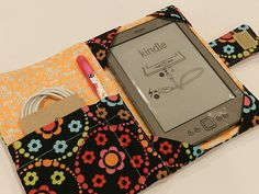 Quilted Kindle Cover Pick Your Own Fabrics by CraftyStitches in Optic Floral Gray Yellow, $25.00...
