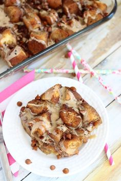 Coffee and Donuts Bread Pudding. Bread pudding made from cake donuts. Baked with a coffee custard, and topped with a coffee glaze!