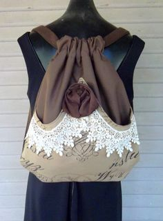 WOW! I am so making this back pack! mori girl | Backpack Victorian Lace and Rose Mori Girl Backpack Tan Pocket With ...