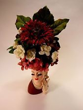 Beautiful Napco Lady Head Vase Earrings, Necklace and Flower Arrangement Hat