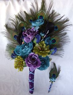 Wedding bouquet peacock feather bouquet turquoise purple eggplant green bridal bouquet and boutonniere set
