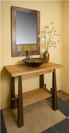 Cherry and Walnut Wood Vanity ,Price: $3,000.00, From www.sinksgallery.com  Perfect for powder room