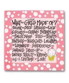 What all girls/women are made of! I don't think you ever get too old or grow out of this stuff! I'm still a little girl at heart! Little Girl Rooms, My Little Girl, My Girl, Girly Girl, Lace Cupcakes, Baby Girl Quotes, Sugar And Spice, Wall Plaques, Baby Love