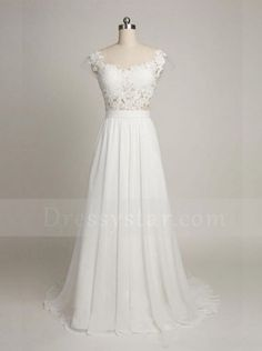Simple A-Line Scoop Cap Sleeves Sweep Train Backless Wedding Dress with Lace