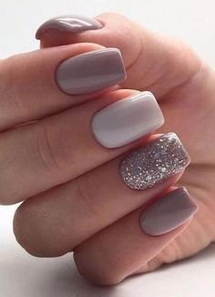 15 Gorgeous Square Nail Designs To Copy : Glitter Feature Nail Square Nails Get some nail inspiration for your next manicure with these gorgeous square nail designs that you will want to copy. Square Nail Designs, Short Nail Designs, Acrylic Nail Designs, Nail Design For Short Nails, Glitter Nail Designs, Simple Nail Design, Pretty Nail Designs, Glitter Gel Nails, Cute Acrylic Nails