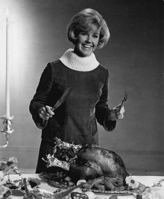Doris Day carving the Turkey for Thanksgiving