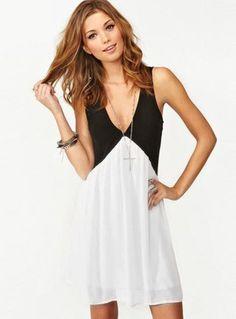 Black White Deep V Neck Hollow Chiffon Dress